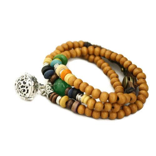 Natural Triple Wrap Essential Oil Diffuser Bracelet