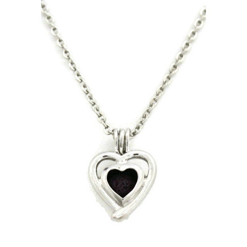 Beloved Silver Heart Essential Oil Diffuser Necklace