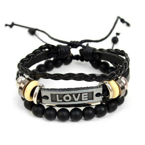 """Genuine Leather & Natural Stone """"Love"""" Two Pieces Bracelet Set for Men"""