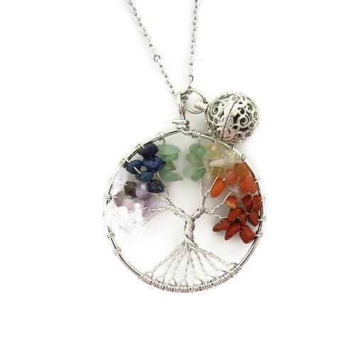 Chakra Tree Multicolored Essential Oil Diffuser Necklace