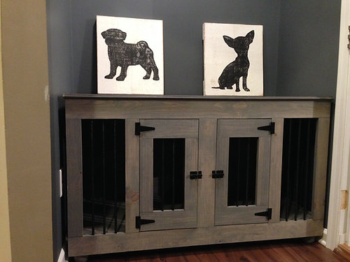 say goodbye to those pesky metal dog crates the dog cave kennels will accent any room in your home whether it be for a tv stand office cordenza