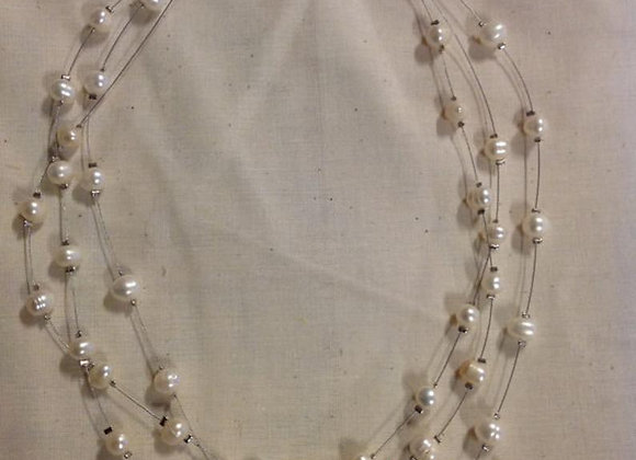3-String Necklace of White Fresh Water Pearls