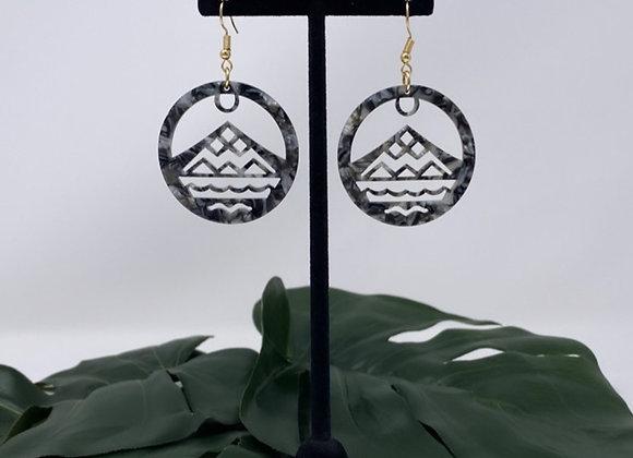 Faux Turtle Shell Mountain Wave Acrylic Earrings