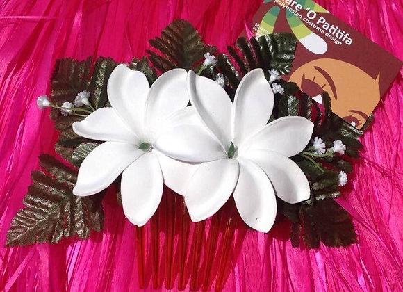 Silk Leaf & Tiare Flower Comb