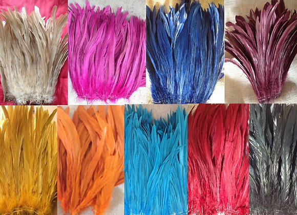 "8-10"" Dyed Rooster Tail Feather pack"