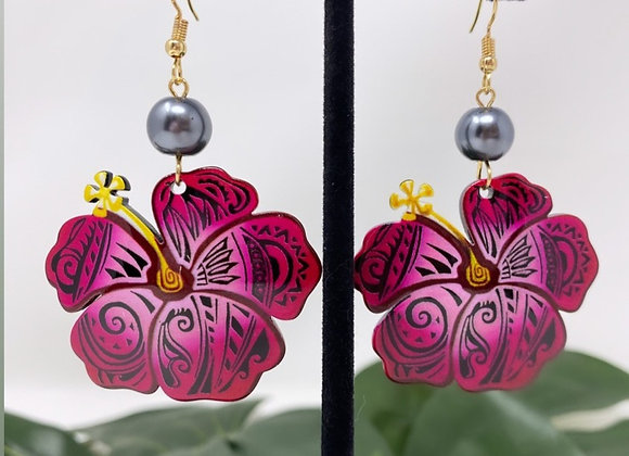 Tribal Hibiscus Tropical Earrings