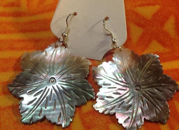 "2"" Carved Black Lip Mother Of Pearl Shell Flower Earrings"