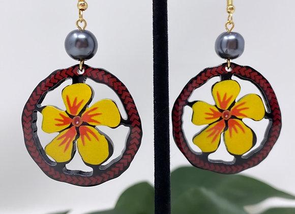 Plumeria Tropical Halo Earrings