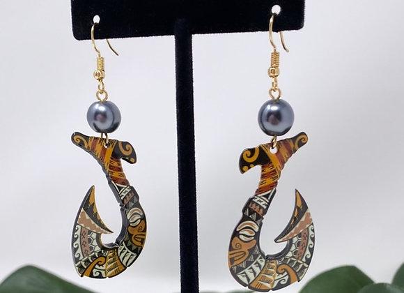 Tribal Fish Hook Tropical Earrings
