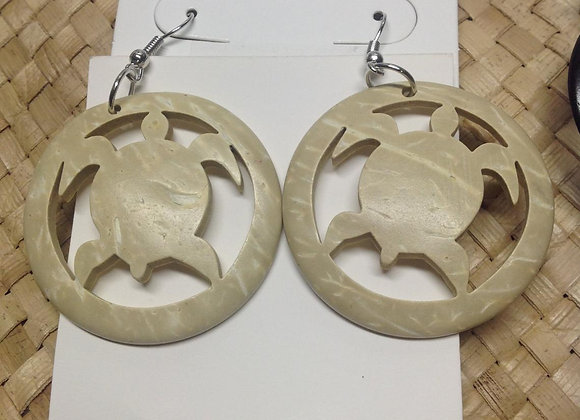 Turtle Coconut Shell Earrings.