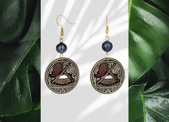 Samoan Tribal Kava Bowl Earrings