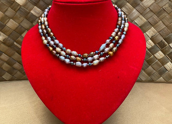 Multicolor Freshwater pearl strand necklace