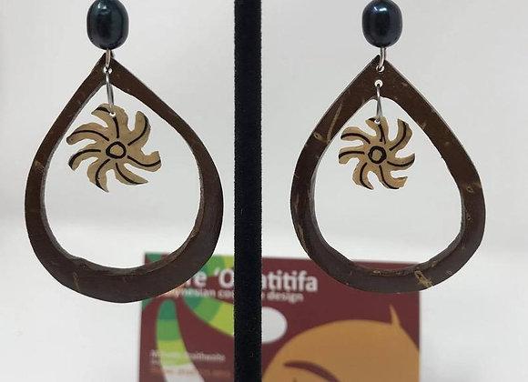 Teardrop Tiare Coconut & Fresh Water Pearl Earrings
