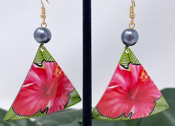 Triangle Hibiscus Tropical Earrings