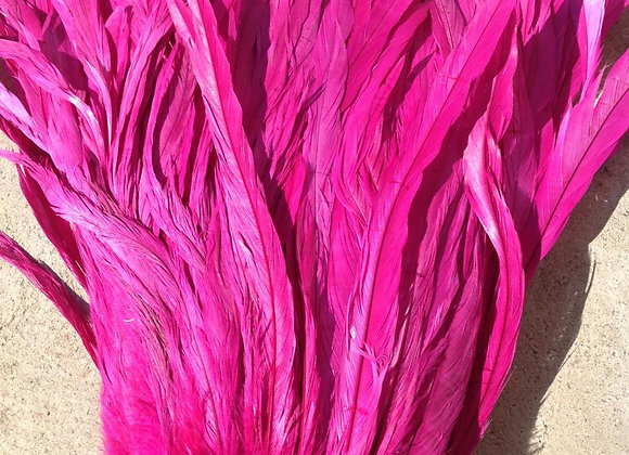 "10-12"" Dyed Very Berry Rooster Tail Feathers"