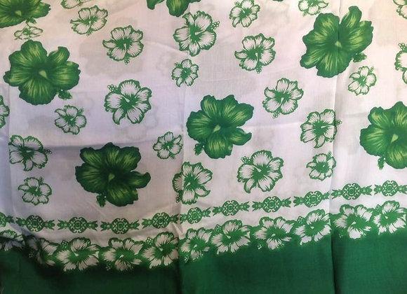 Green & White Hibiscus Print Sarong