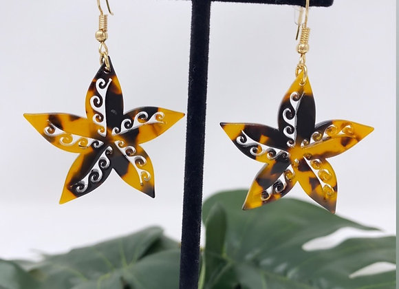 Faux Turtle Shell Tribal Starfish Acrylic Earrings