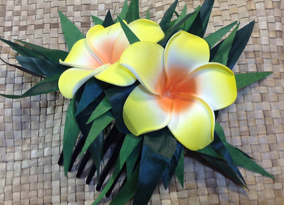 Hawaiian Foam Flower & Silk Leaf Comb Or Clip