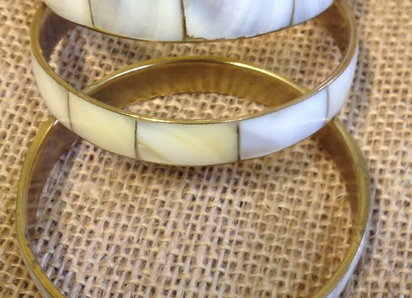 Gold Tone Mother Of Pearl Shell Bracelet/Bangle