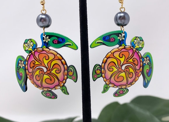 Tribal Sea Turtle Tropical Earrings