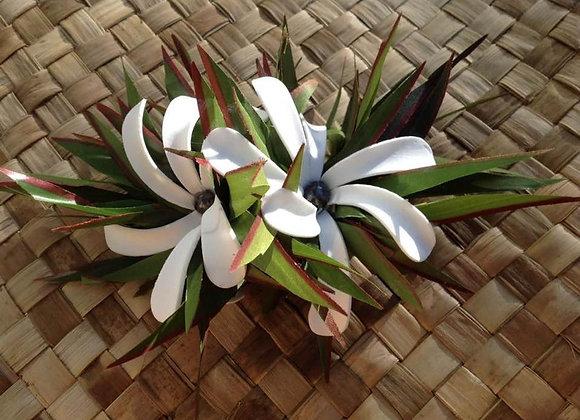 Silk Leaf & Double Tiare Flower Clip