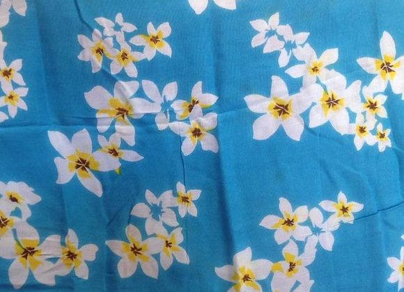 Light Blue Sarong w/ White Plumeria