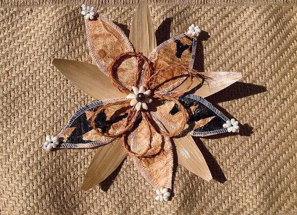 Braided Coconut Fiber, Lauhala & Tapa Flower Hair Clip