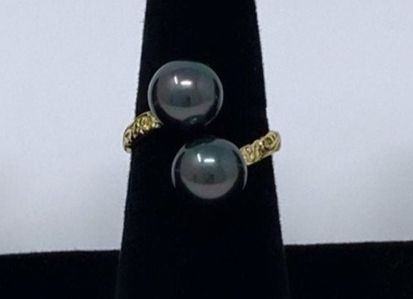Hawaiian Heirloom 14k Gold Filled Double Pearl Ring