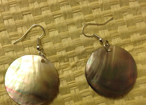 Mother Of Pearl Shell Disk Earrings
