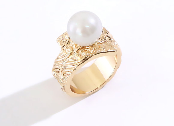 Hawaiian Heirloom Spiral Gold Plated Pearl Ring