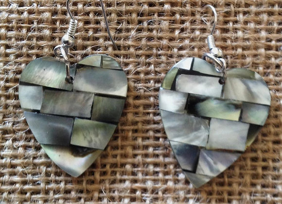Inlay Mother Of Pearl Heart Earrings
