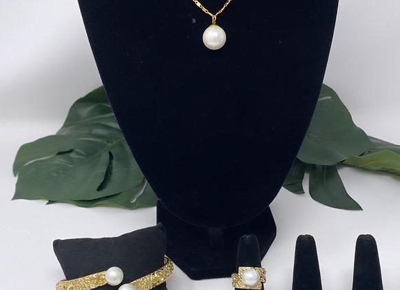 14kgf Hawaiian Heirloom White shell pearl set