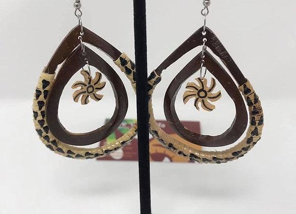 Authentic Coconut Shell Double Teardrop Earrings