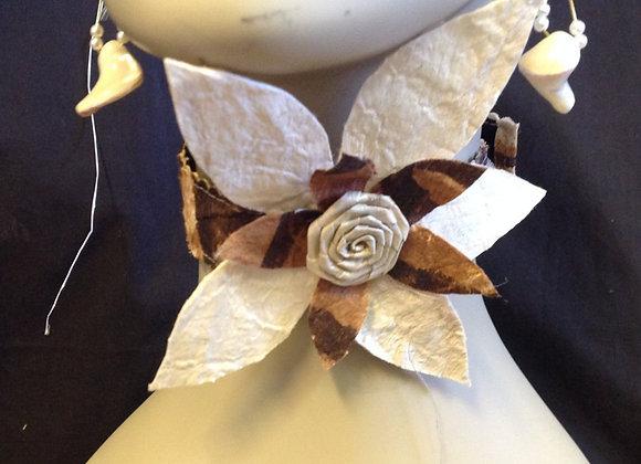 Tapa Cloth Flower Neckpiece