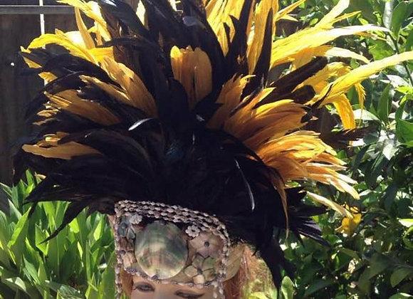 Black & Yellow feather and shell Headpiece (ALAULA - Sunset Glow)