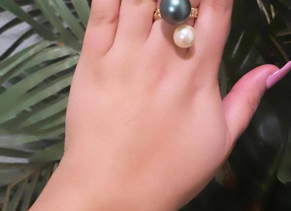 14kgf Hawaiian Heirloom South Sea Green Pearl set