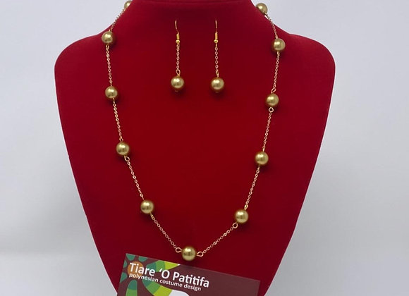 14kgf Gold Shell Pearl Necklace & Earring Set