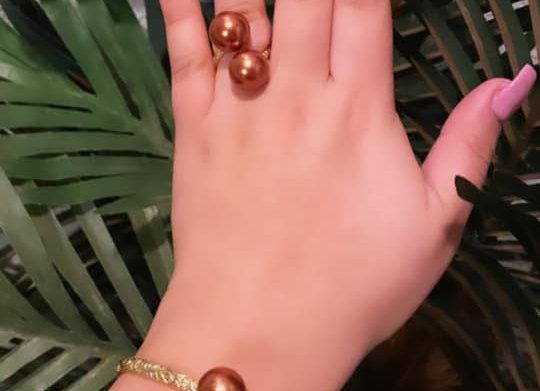 14kgf Hawaiian Heirloom Bronze Chocolate South Sea Shell Pearl Set