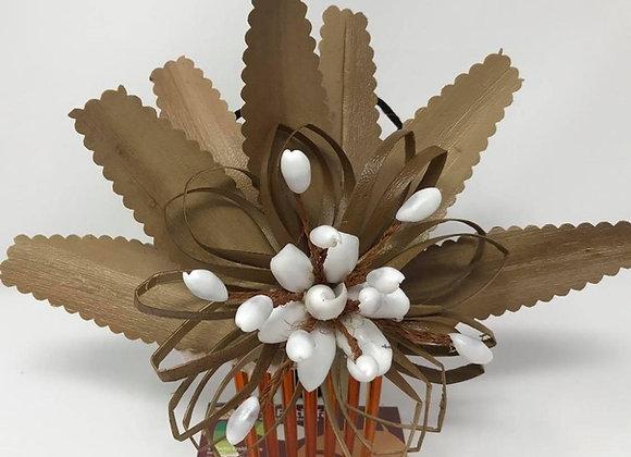 Lo'akau/lauhala, braided coconut fiber and sea shell Hair Comb