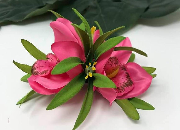 Hawaiian double Pink Orchid Flower hair clip