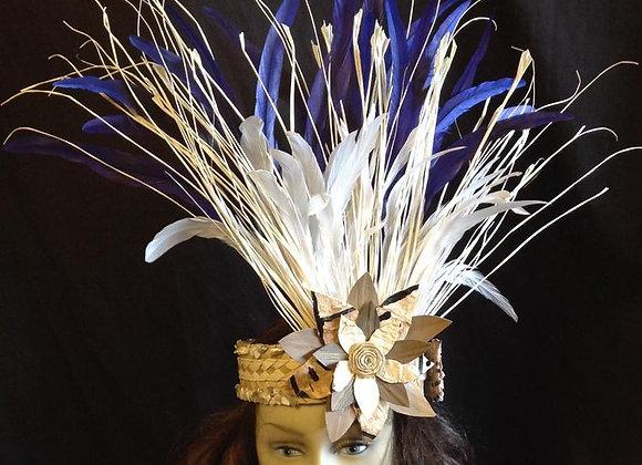 White & Navy Blue Feather, Tapa & Lauhala Headband Headpiece (HINATEA)
