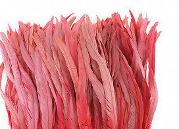 "11-14"" Coral Rooster Coque Tails Bleach Dyed Feathers"