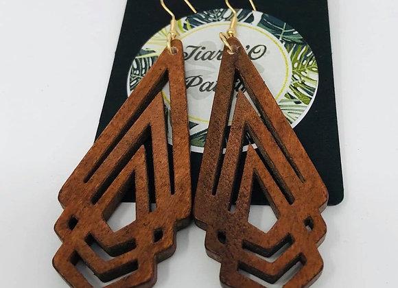 Triple Kite Wooden Earrings