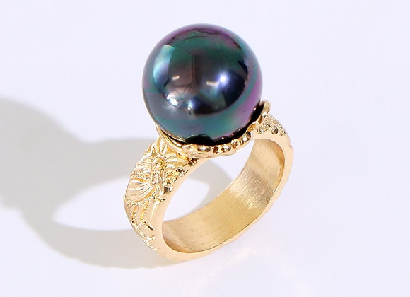 Hawaiian Heirloom Gold Plated Cradle Pearl Ring