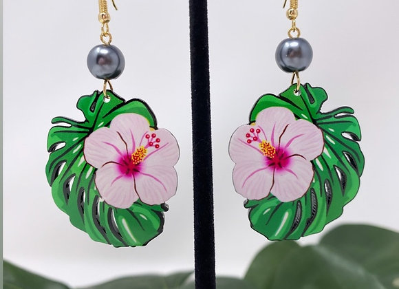 Monstera Hibiscus Tropical Earrings