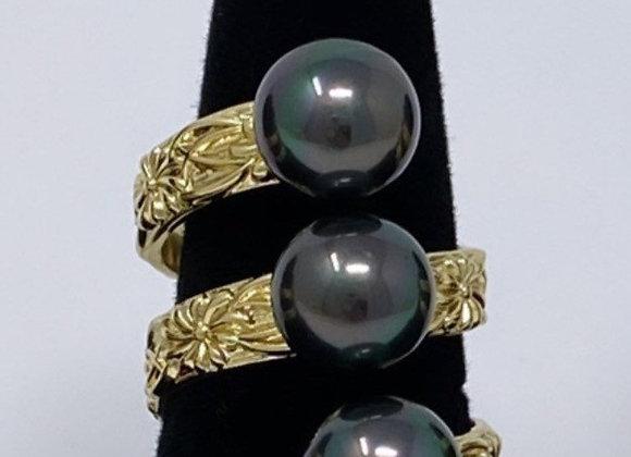 Hawaiian Heirloom 14k Gold Filled Triple Pearl Ring