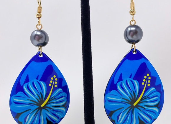 Hibiscus Teardrop Tropical Earrings