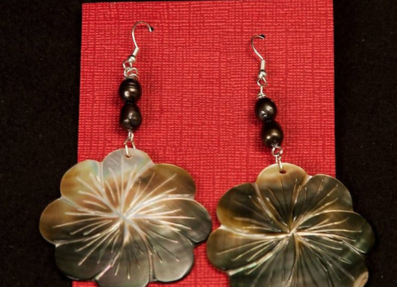 Carved Flower Mother Of Pearl Shell & Black Fresh Water Pearl Earrings