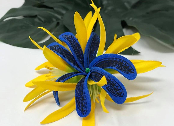 Blue Tribal Tiare & Yellow Spider Lily Flower Hair Clip