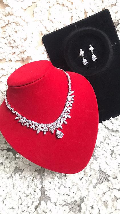 STAZIA Swarovski Crystal CZ Earring & Necklace Set